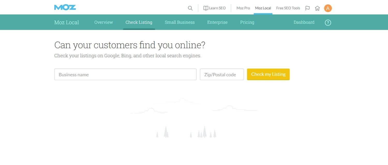 Screenshot of https://moz.com/local/search