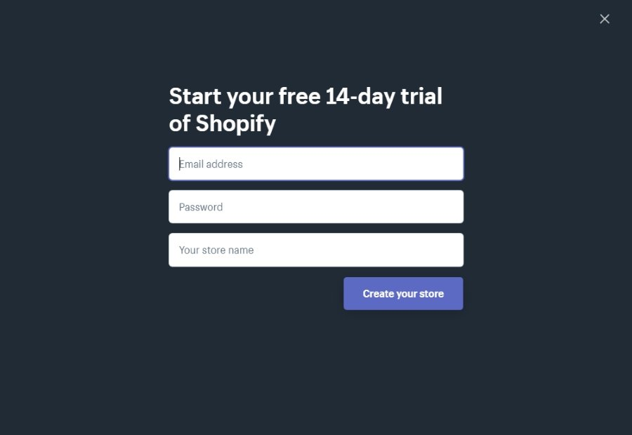 Sign up for Shopify